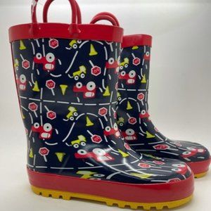 Kids Boots KomforMe Cars Navy Red Pull on Gumboot
